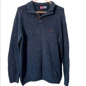 Chaps Navy Pullover Cotton Sweater, Medium